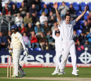 James Anderson had Kumar Sangakkara out caught behind after a review, England v Sri Lanka, 1st Test, Cardiff, 1st day, May 26 2011
