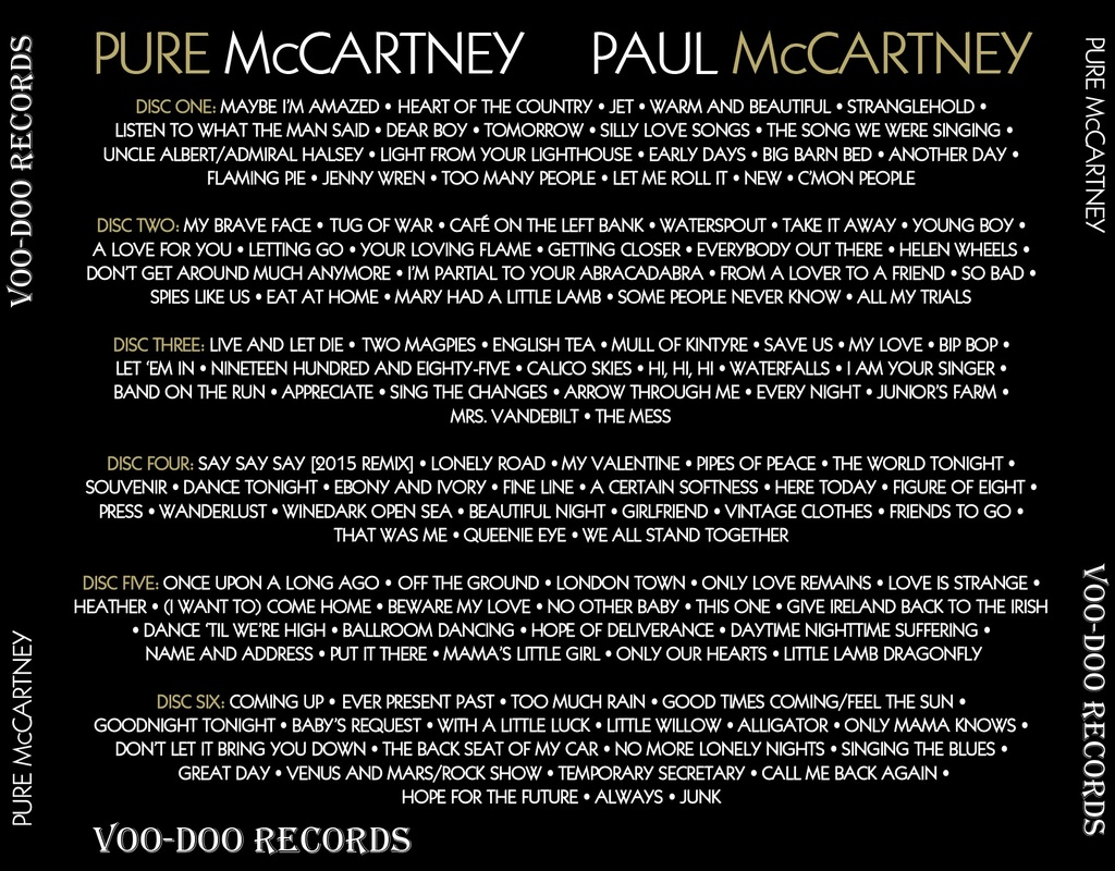 "The tracklist of the deluxe version of ""Pure McCartney"""