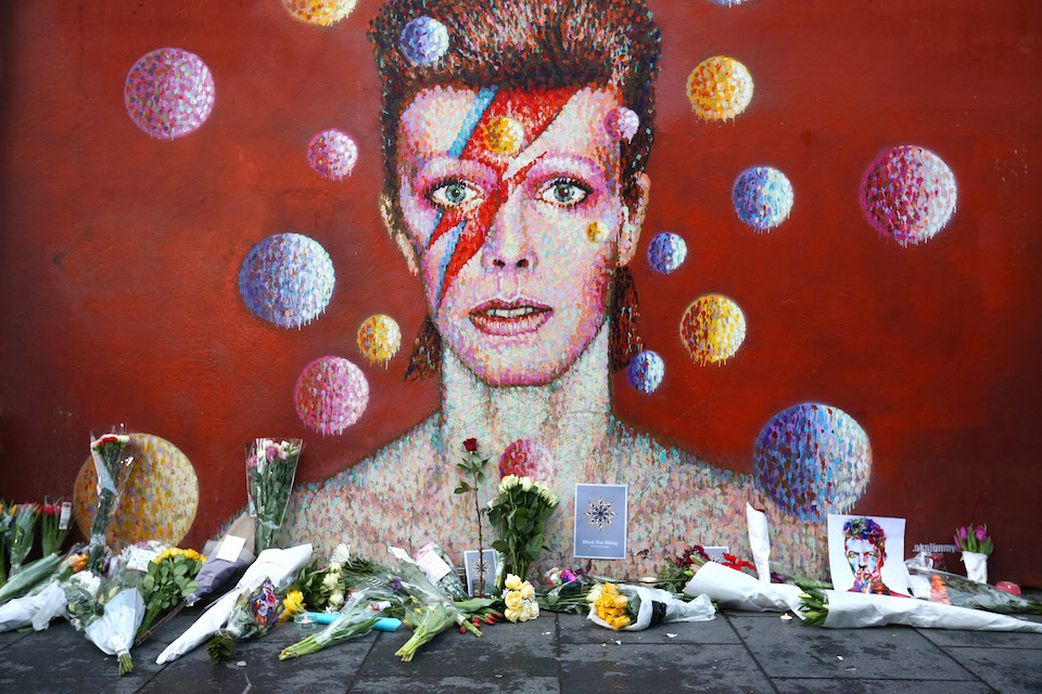 Since his death in January, Bowie's mural in Brixton has been turned into a memorial by his always devoted fans.