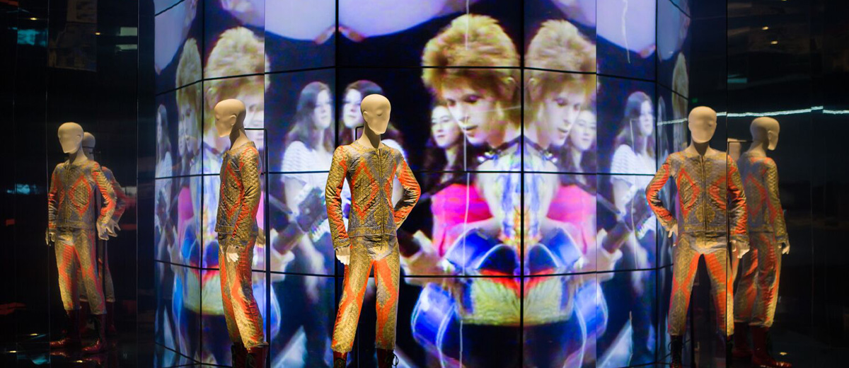 "One of the installations of ""David Bowie Is"" exhibition, now in Bologna"